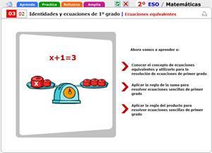 Ecuaciones equivalentes de primer grado. Matemáticas para 2º de Secundaria