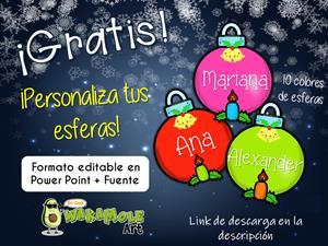 Esferas editables imprimibles para navidad WakamoleArt.com