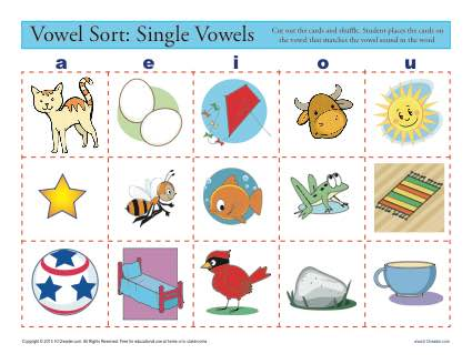 Vowel Sort: Single Vowels