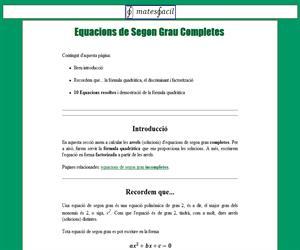 Equacions de Segon Grau Completes