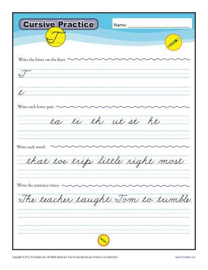 Cursive T – Letter T Worksheet
