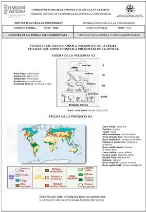 Examen de Selectividad: Ciencias de la Tierra (anexos). Comunidad Valenciana. Convocatoria Junio 2013