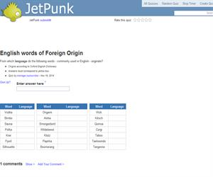 English words of Foreign Origin