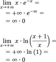 Indeterminación 0 por infinito