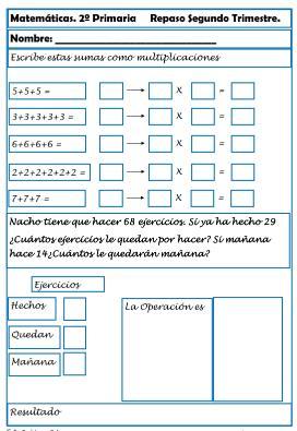 Ficha de Repaso de Matemáticas para Primaria