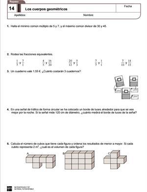 Ejercicios de repaso de Matemáticas de 6º de primaria (Editorial SM)