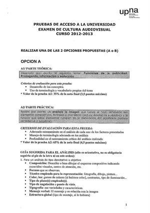 Examen de Selectividad: Cultura audiovisual. Navarra. Convocatoria Junio 2013