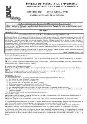 Examen de Selectividad: Economía. Canarias. Convocatoria Junio 2013