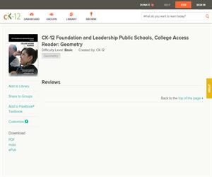 CK-12 Foundation and Leadership Public Schools, College Access Reader: Geometr? Basic