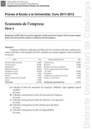 Examen de Selectividad: Economía. Cataluña. Convocatoria Junio 2012