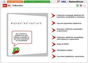 Polinomios. Autoevaluación. Matemáticas para 3º de Secundaria
