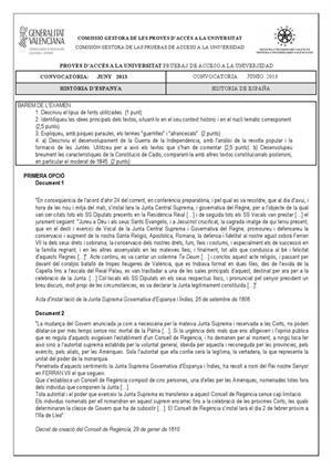 Examen de Selectividad: Historia de España. Comunidad Valenciana. Convocatoria Junio 2013