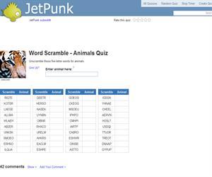 Word Scramble - Animals Quiz