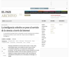 La inteligencia colectiva se pone al servicio de la ciencia a través de internet . El País 8-01-09