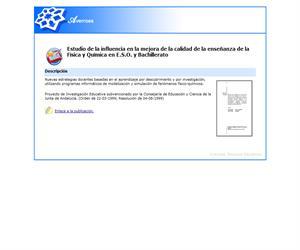 Estudio de la influencia en la mejora de la calidad de la enseñanza de la Física y Química en E.S.O. y Bachillerato