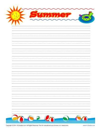 Summer Lined Writing Paper