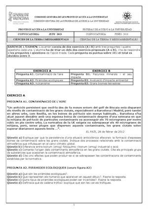Examen de Selectividad: Ciencias de la Tierra. Comunidad Valenciana. Convocatoria Junio 2013