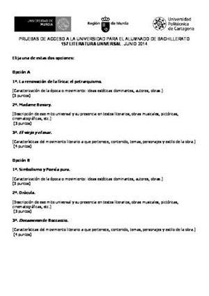 Examen de Selectividad: Literatura universal. Murcia. Convocatoria Junio 2014