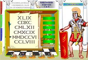 Escribe el valor de los números romanos