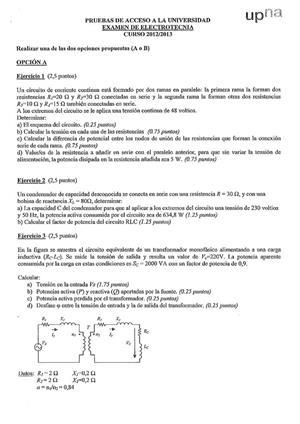 Examen de Selectividad: Electrotecnia. Navarra. Convocatoria Julio 2013