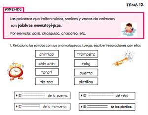 Ficha de contenidos de lengua y literatura para primaria
