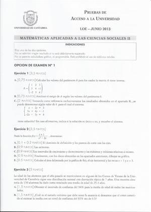 Examen de Selectividad: Matemáticas CCSS. Cantabria. Convocatoria Junio 2013