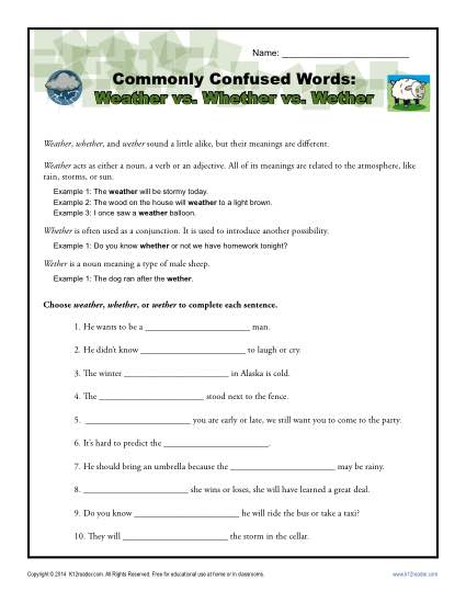 Weather vs. Whether vs. Wether – Commonly Confused Words Worksheet