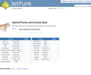 Hybrid Plants and Animals Quiz