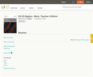 CK-12 Algebra - Basic, Teacher's Editio? Basic