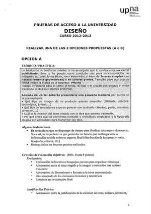 Examen de Selectividad: Diseño. Navarra. Convocatoria Junio 2013