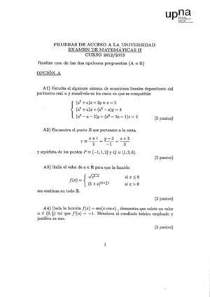 Examen de Selectividad: Matemáticas II. Navarra. Convocatoria Julio 2013