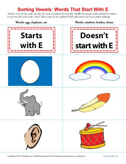 Vowel Sort: Words That Start With E