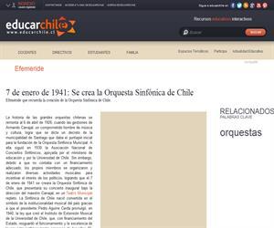 Efeméride Orquesta Sinfónica de Chile (Educarchile)