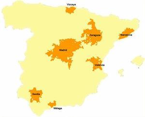 Áreas metropolitanas de Europa y España