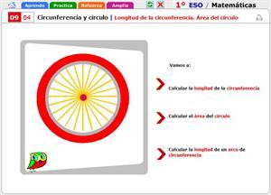 Longitud de la circunferencia. Área del círculo. Matemáticas para 1º de Secundaria