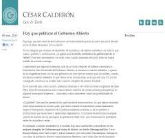 Hay que politizar el Gobierno Abierto (Artículo de opinión de César Calderón)