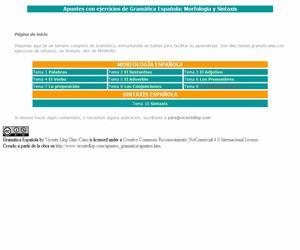 Apuntes con ejercicios de morfología y sintaxis (Gramática Española)
