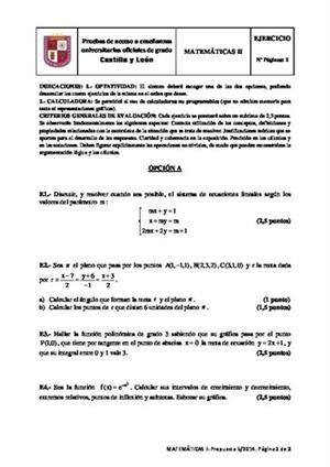 Examen de Selectividad: Matemáticas II. Castilla y León. Convocatoria Junio 2014