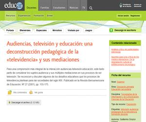 Audiencias, televisión y educación: una deconstrucción pedagógica de la 'televidencia' y sus mediaciones