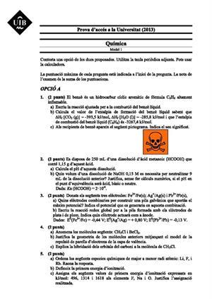 Examen de Selectividad: Química. Islas Baleares. Convocatoria Junio 2013