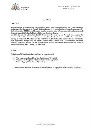 Examen de Selectividad: Alemán. Asturias. Convocatoria Julio 2013