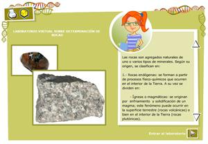 Laboratorio virtual sobre determinación de rocas. Biología y Geología para 3º de Secundaria
