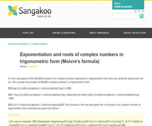 Exponentiation and roots of complex numbers in trigonometric form (Moivre's formula)