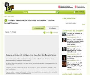 Escolania de Montserrat: inici d'una nova etapa. Convidat: Bernat Vivancos. (Edu3.cat)