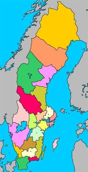 Mapa interactivo de Suecia: condados y capitales (luventicus.org)