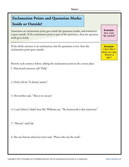 Exclamation Points and Quotation Marks: Inside or Outside?