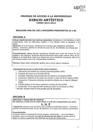 Examen de Selectividad: Dibujo artístico. Navarra. Convocatoria Julio 2013