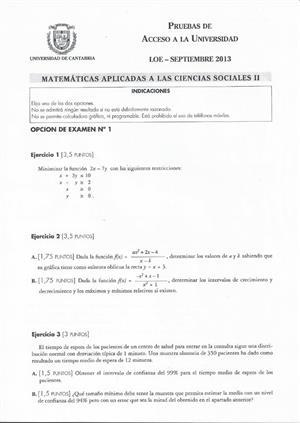 Examen de Selectividad: Matemáticas CCSS. Cantabria. Convocatoria Septiembre 2013