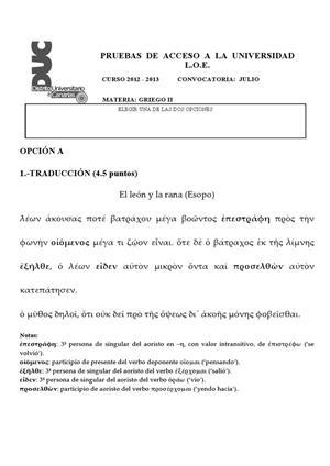 Examen de Selectividad: Griego. Canarias. Convocatoria Julio 2013
