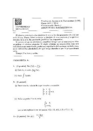 Examen de Selectividad: Matemáticas II. La Rioja. Convocatoria Junio 2014